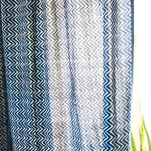 Indigo Chevron Semi Sheer Curtain