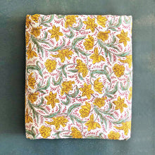 Load image into Gallery viewer, Yellow and Green Floral Blockprint Cotton Fabric
