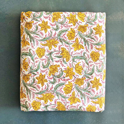Yellow and Green Floral Blockprint Cotton Fabric (min. 2m)