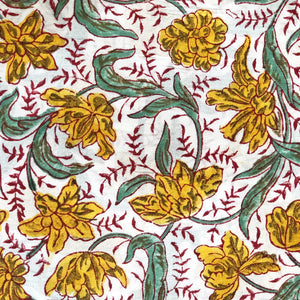 Yellow and Green Floral Blockprint Cotton Fabric