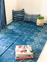 Load image into Gallery viewer, Indigo Dandiya Lights Handmade Cotton Rug