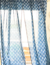 Load image into Gallery viewer, Indigo Mughal Print Semi Sheer Curtain