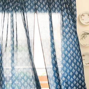 blue sheer blockprint curtains
