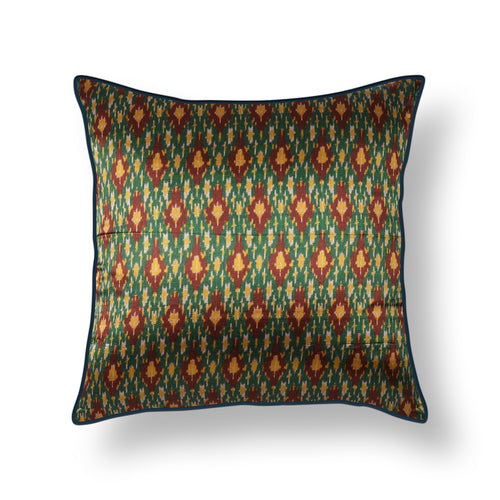 Green Ikat Blockprint Mashru Silk Cushion Cover