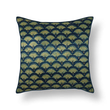 Load image into Gallery viewer, Blue & Green Floral Blockprint Mashru Silk Cushion Cover