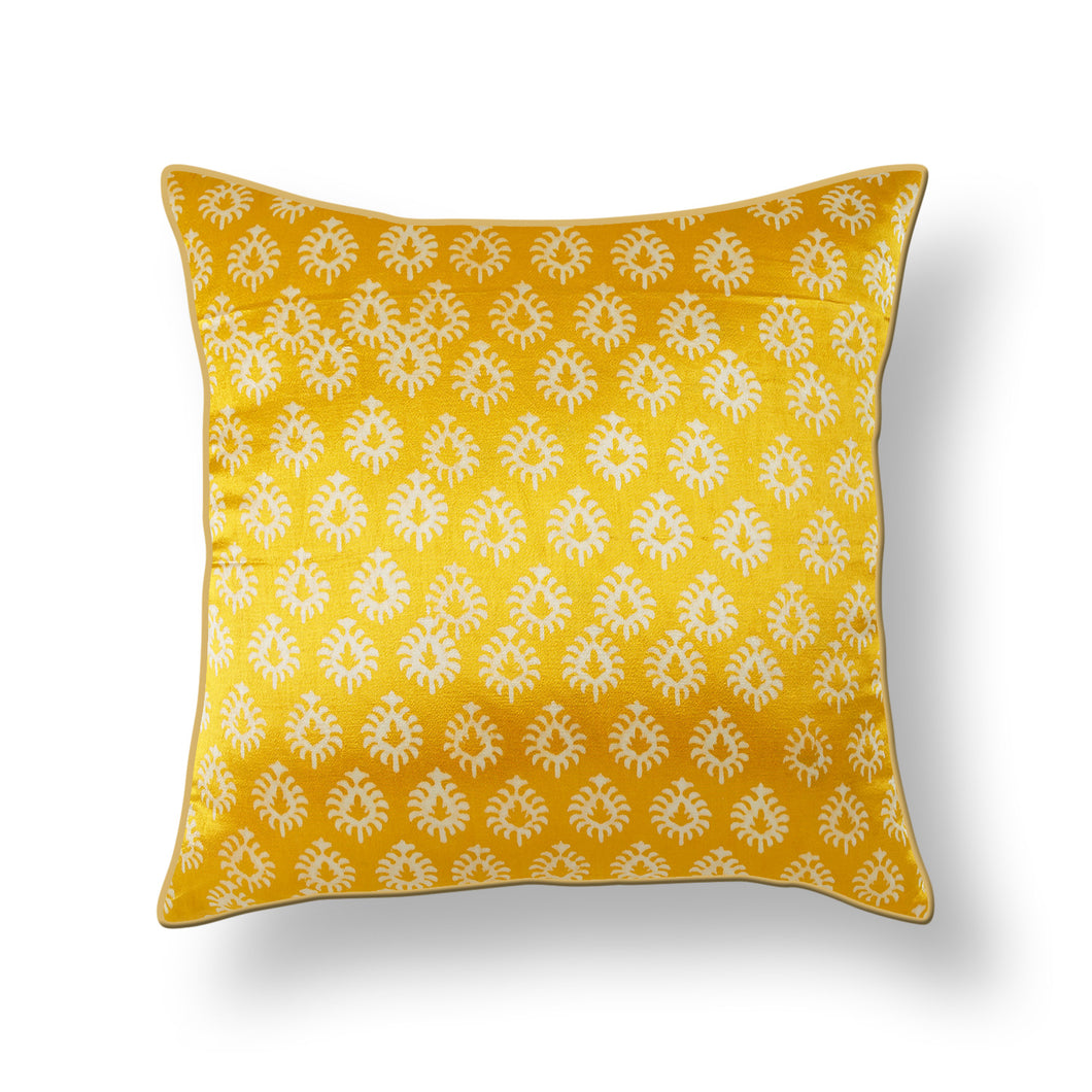 Yellow Floral Blockprint Mashru Silk Cushion Cover