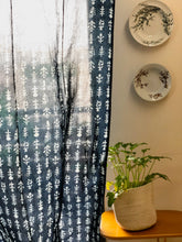 Load image into Gallery viewer, Indigo Floral Print Semi Sheer Curtain