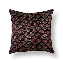 Load image into Gallery viewer, Black Floral Blockprint Mashru Silk Cushion Cover