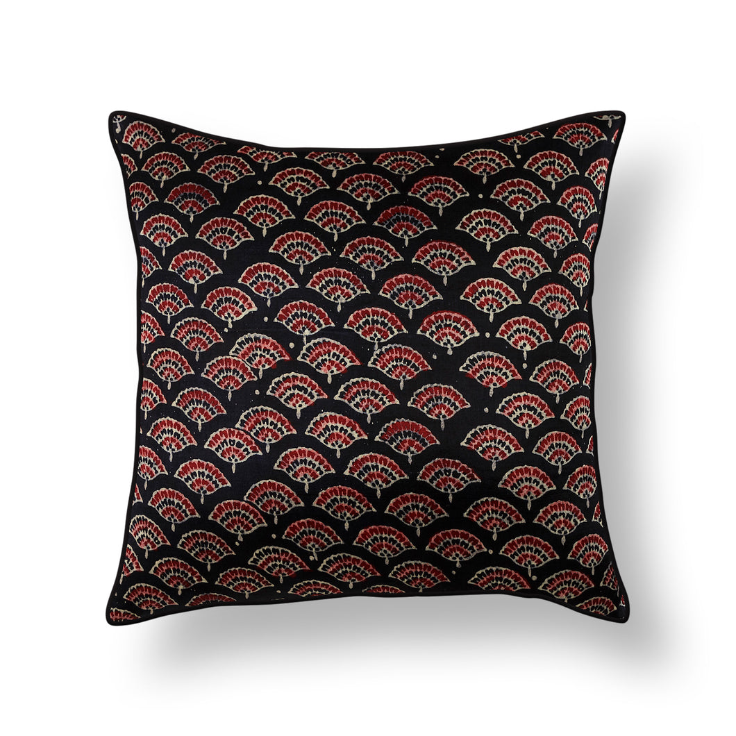 Black Floral Blockprint Mashru Silk Cushion Cover