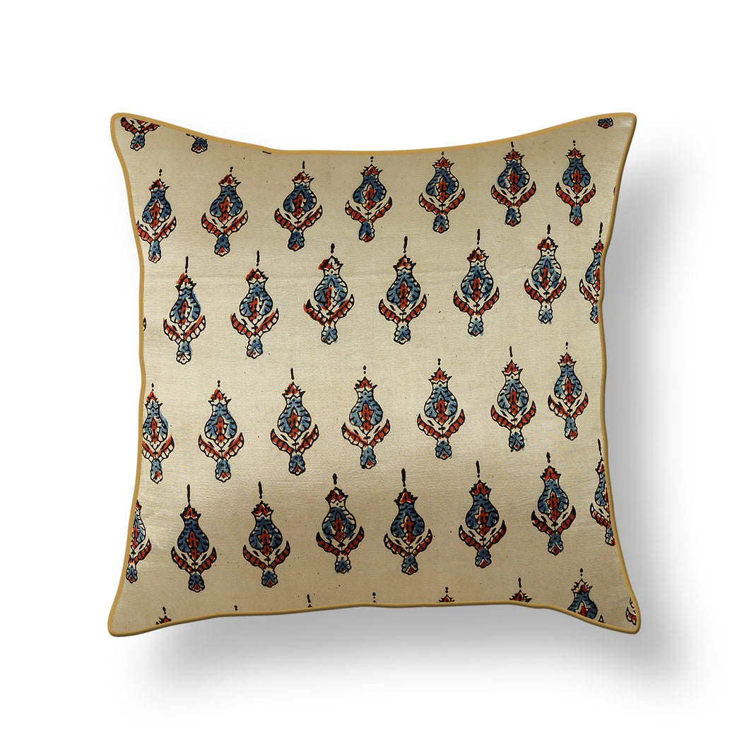 Ivory Cream Buti Floral Blockprint Mashru Silk Cushion Cover