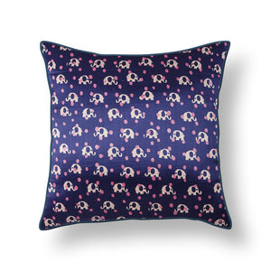 Purple Elephant Blockprint Mashru Silk Cushion Cover