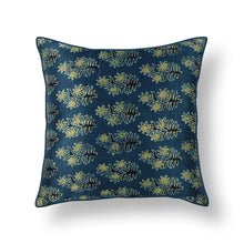 Load image into Gallery viewer, Blue Buti Floral Blockprint Mashru Silk Cushion Cover