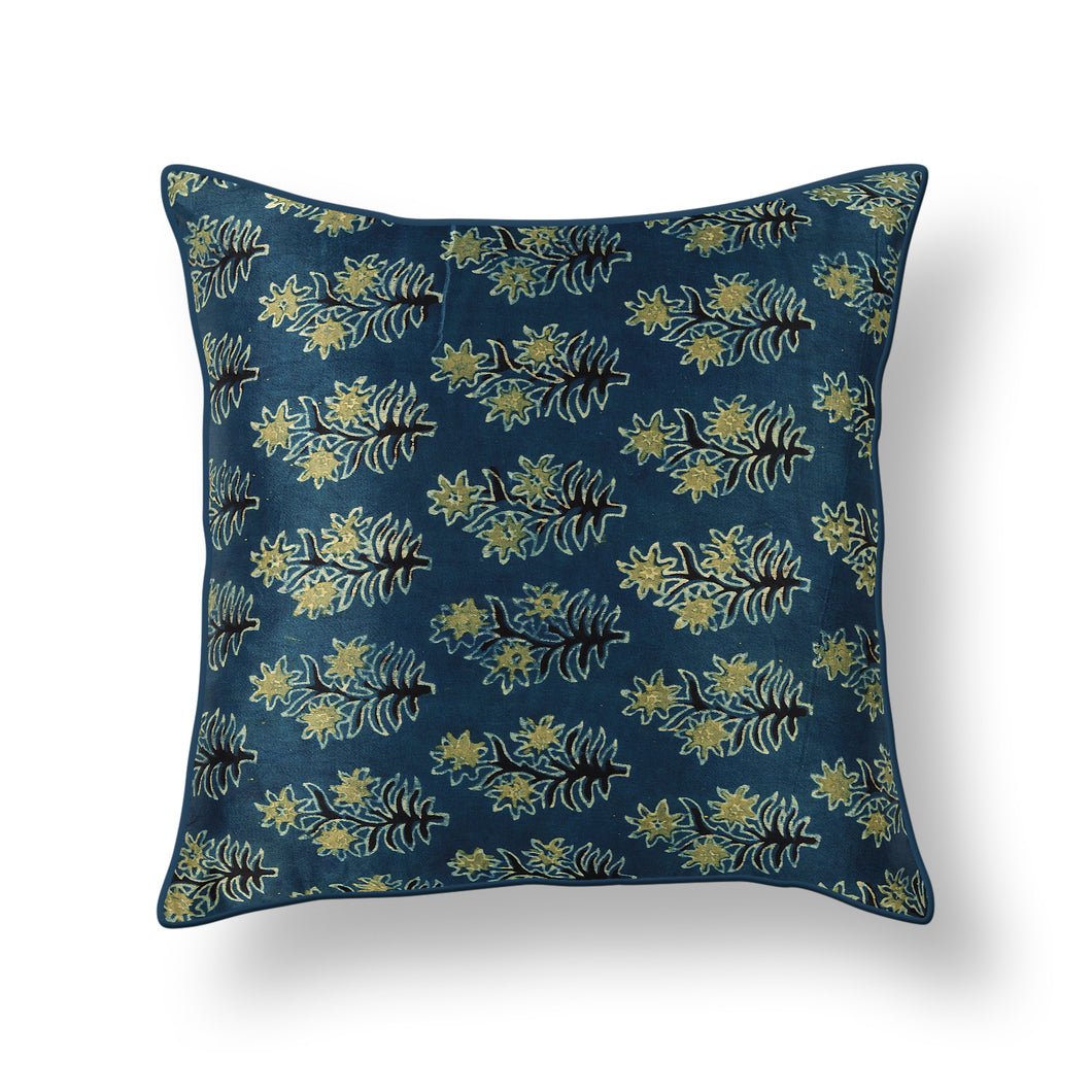 Blue Buti Floral Blockprint Mashru Silk Cushion Cover