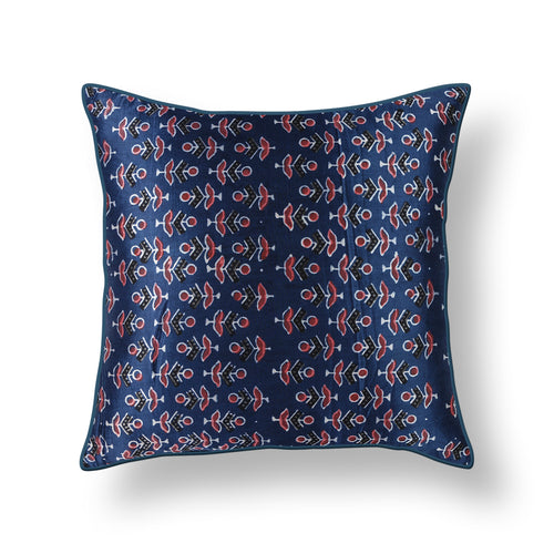 Blue and Pink Floral Blockprint Mashru Silk Cushion Cover