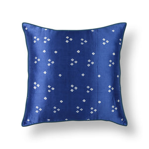 Blue Bandhni Mashru Silk Cushion Cover