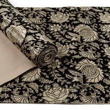 Load image into Gallery viewer, Black Jaal Print Mashru Silk Table Runner