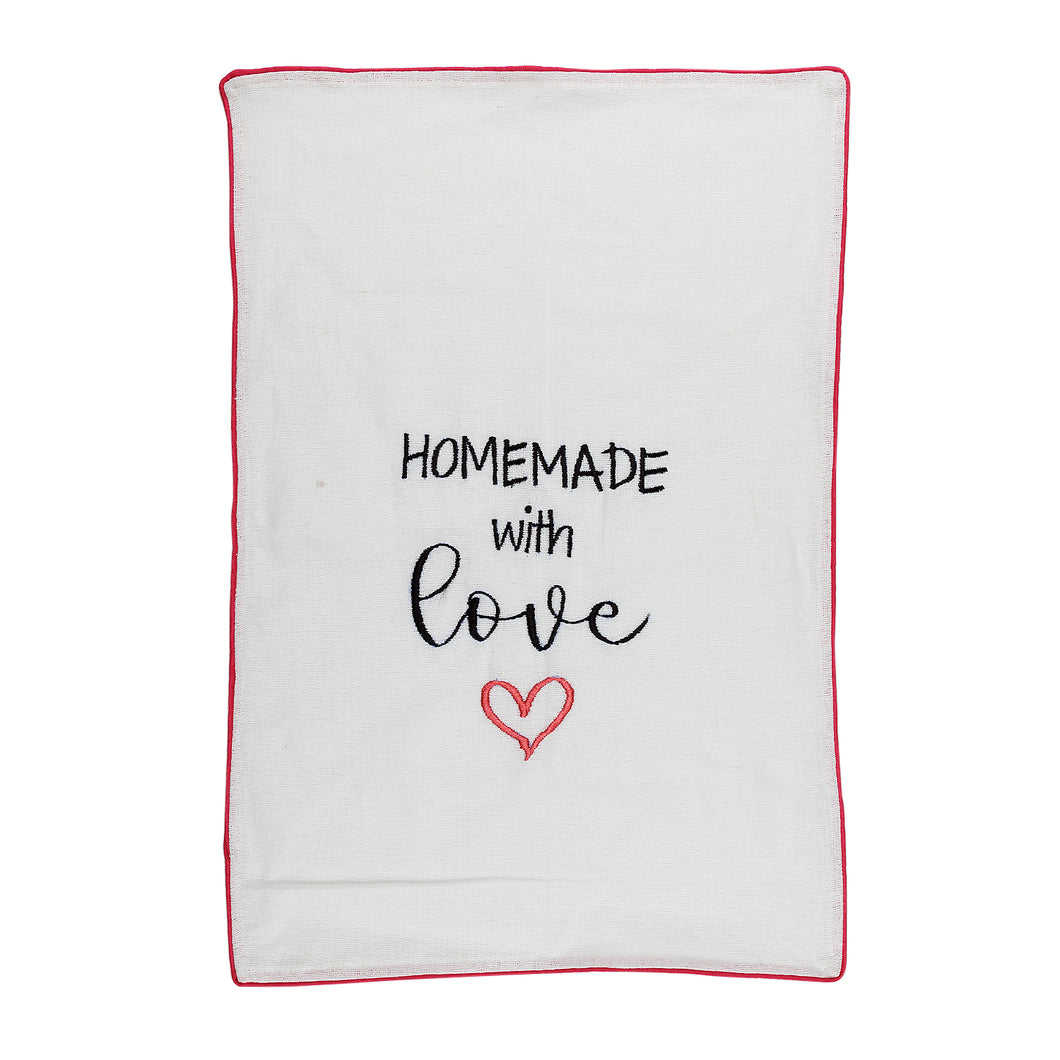 Homemade with Love Embroidered Cotton Tea Towel