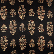 Load image into Gallery viewer, Black & Gold Buti Floral Blockprint Mashru Silk Cushion Cover