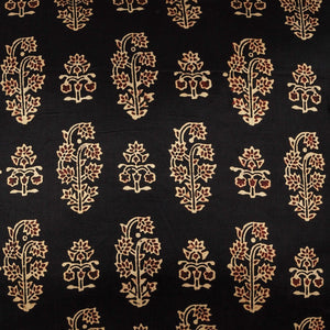Black & Gold Buti Floral Blockprint Mashru Silk Cushion Cover