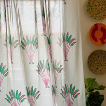 Load image into Gallery viewer, Tropical Travellers Palm Pink and Green Blockprint Sheer Curtain