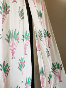 Tropical Travellers Palm Pink and Green Blockprint Sheer Curtain