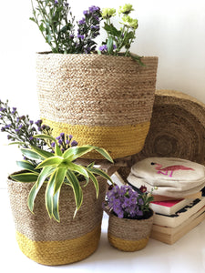 Yellow Jute Planter cum Storage Basket (S,M,L)