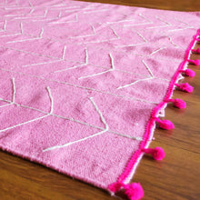 Load image into Gallery viewer, Indulge in Pink Embroidered Cotton Rug