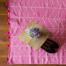 Indulge in Pink Embroidered Cotton Rug