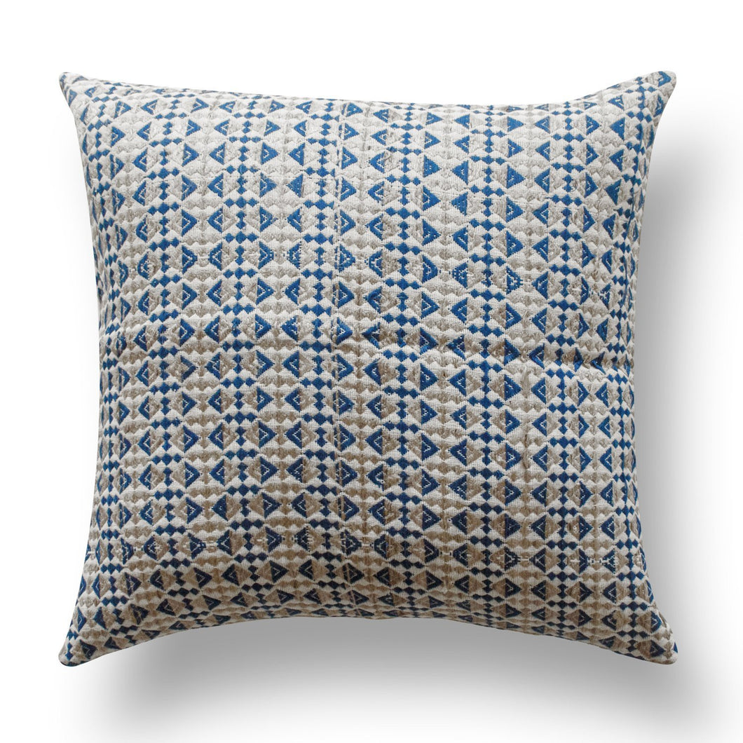 White & Indigo Abstract Tassar Ghicha Silk Handloom Cushion Cover