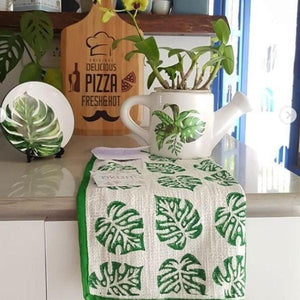 Green Blockprinted Monstera Tea Towel Set (1 pc, set of 2)