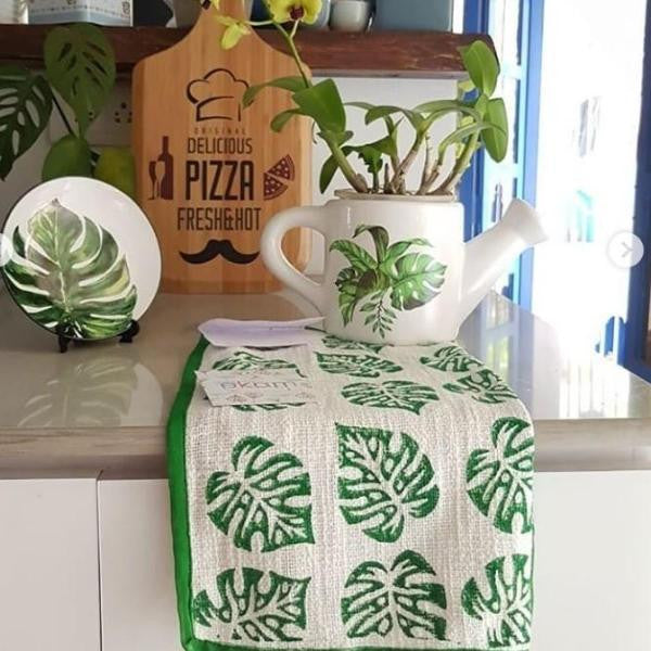 Green Blockprinted Monstera Tea Towel Set