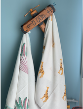 Load image into Gallery viewer, Travellers Palm and Giraffe Blockprint Bath Towel Combo