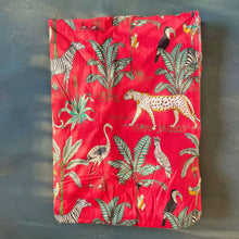 Load image into Gallery viewer, Red Tropical Safari Hand Screenprinted Cotton Fabric (min. 2m)