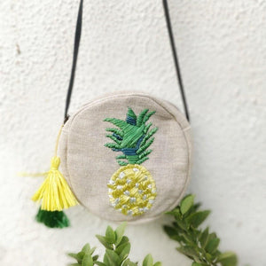 Pineapple Raffia Embroidered Cross Body Bag