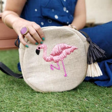 Load image into Gallery viewer, Flamingo Raffia Embroidered Cross Body Bag