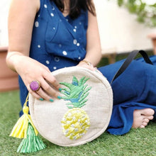 Load image into Gallery viewer, Pineapple Raffia Embroidered Cross Body Bag