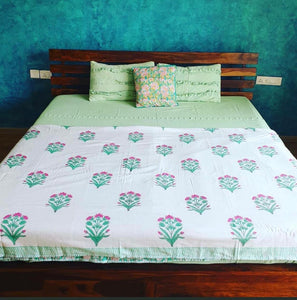 Pink and Green Floral Double Bed Bedsheet