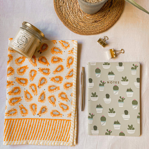 papaya print towel