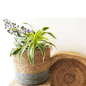 Grey Jute Planter Cum Storage Basket (S,M,L)