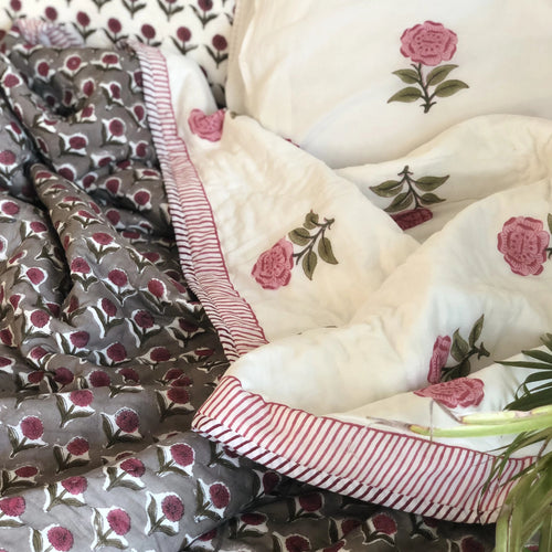 Floral Buti Double Bed Jaipuri Reversible Quilt Set