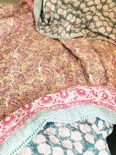 Load image into Gallery viewer, Pink Paisley Double Bed Jaipuri Reversible Quilt