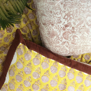 Yellow Pomegranate Double Bed Jaipuri Reversible Quilt Set