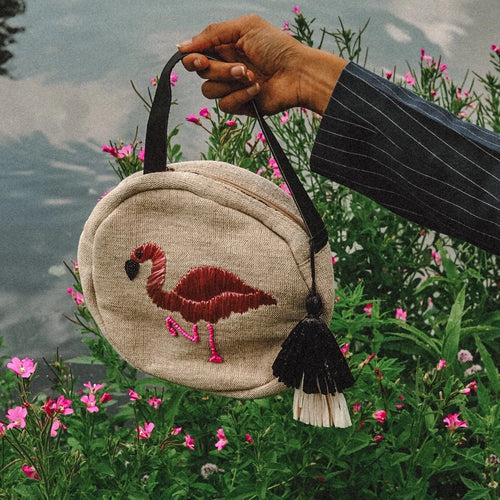Flamingo Raffia Embroidered Cross Body Bag