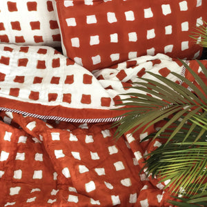 Orange Abstract Double Bed Jaipuri Reversible Quilt Set