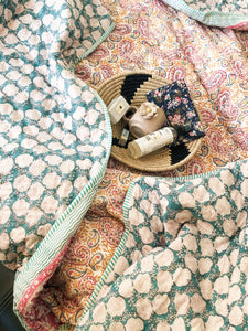 Pink Paisley Double Bed Jaipuri Reversible Quilt