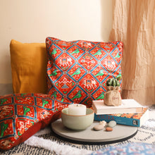 Load image into Gallery viewer, Red Patola Print Mashru Silk Cushion Cover