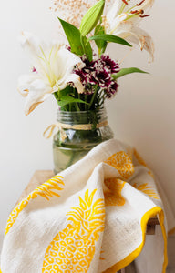 Yellow Blockprinted Pineapple Tea Towel Set