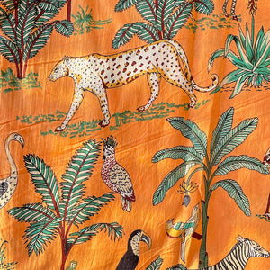 Orange Tropical Safari Hand Screenprinted Cotton Fabric (min. 2m)