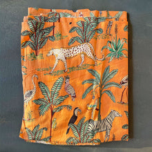 Load image into Gallery viewer, Orange Tropical Safari Hand Screenprinted Cotton Fabric (min. 2m)