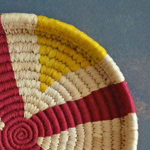 Yellow and Red Sabai Handwoven Grass Tray